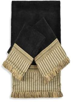 Austin Horn Classics York Embellished Bath Towels in Black (Set of 3)