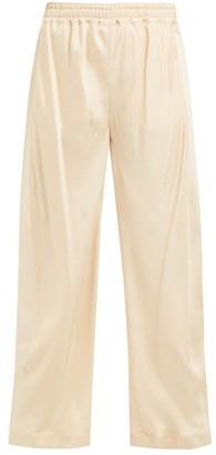 Chloé High Rise Straight Leg Twill Trousers - Womens - Beige