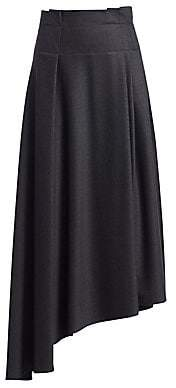 Brunello Cucinelli Men's Grisaille Pleated Asymmetric Wool Skirt