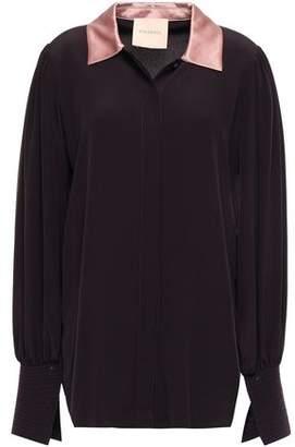 Roksanda Satin-trimmed Silk Crepe De Chine Shirt