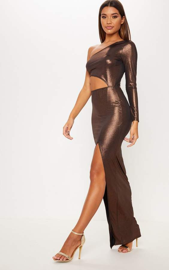Rust Metallic Slinky One Shoulder Cut Out Maxi Dress