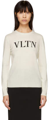Valentino White Wool and Cashmere VLTN Sweater