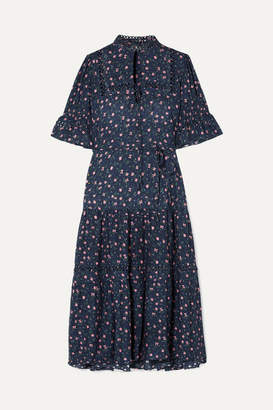 Apiece Apart Los Altos Tie-waist Floral-print Voile Midi Dress - Navy