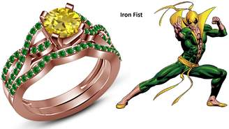 Iron Fist TVS-JEWELS TVS JEWELS 14k Rose Gold Plated 925 Silver Bridal Ring Set Round Cut Yellow & Green Sapphire (11.5)