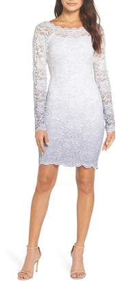 Sequin Hearts Ombre Glitter & Lace Sheath Dress