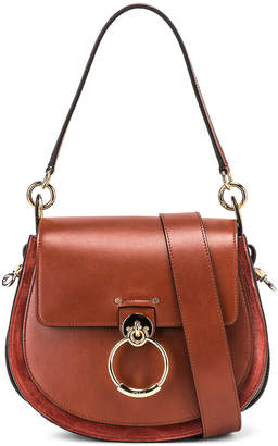 Chloé Medium Tess Shiny Calfskin Shoulder Bag in Sepia Brown | FWRD