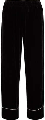 Ganni Piped Velvet Wide-leg Pants - Black