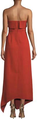 C/Meo Fluidity Strapless Ruffled Maxi Dress