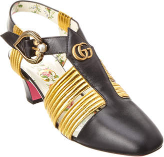 Gucci Mid Heel T-Strap Leather Sandal
