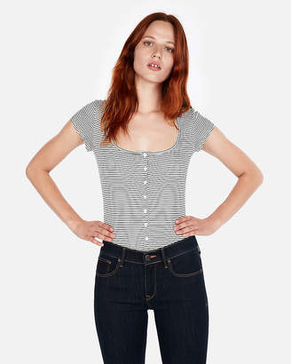 Express One Eleven Ribbed Striped Button Front Tee
