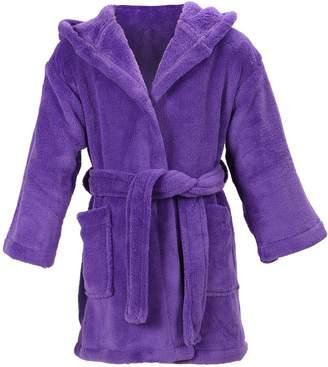 Simplicity Girl's Coral Velvet Hooded Bathrobe Robe with Hood & Pockets