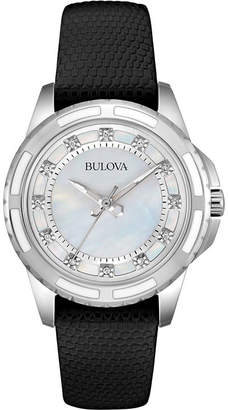 Bulova Womens White Mother-of-Pearl Black Leather Diamond Accent Watch 98P139