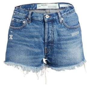 Off-White Women's Distressed Jean Shorts - Medium Blue Wash - Size 26 (2-4)