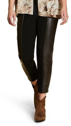 Marina Rinaldi Ravalle Faux Leather Panel Ankle Pants