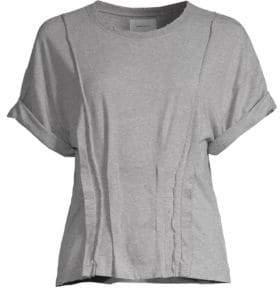 Current/Elliott Women's Pin-Tuck Cotton T-Shirt - Heather Grey - Size 2 (Medium)