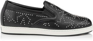 Jimmy Choo GRACY Black and Silver Leather Slip On Flat with Stars