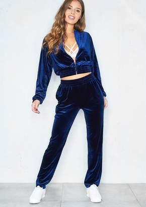 87e58bd565 Missy Empire Missyempire Sophia Navy Crushed Velvet Loungewear Set