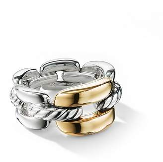 David Yurman Wellesley Link Medium Chain Link Ring in Sterling Silver with 18K Yellow Gold