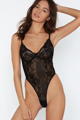 Nasty Gal Lace Bodysuit Black