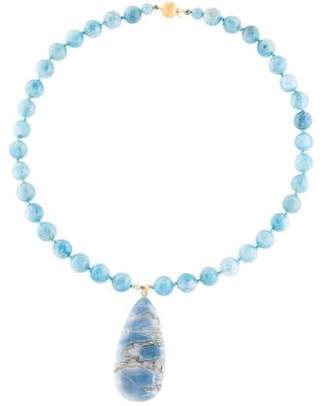 14K Opal & Aquamarine Bead Strand Necklace