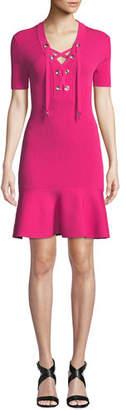 MICHAEL Michael Kors Lace-Up Rib-Knit Short-Sleeve Dress with Flared Hem