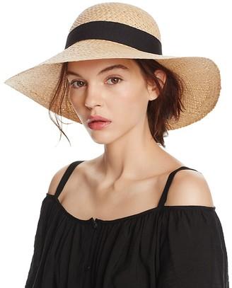 AQUA Raffia Floppy Sun Hat with Ribbon Trim - 100% Exclusive $48 thestylecure.com