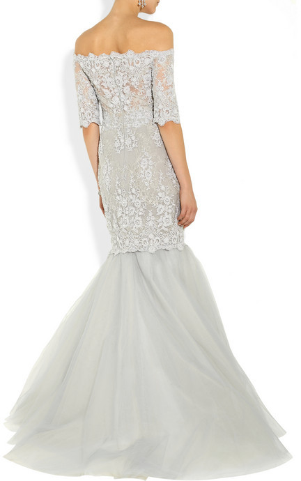Marchesa Embroidered tulle gown