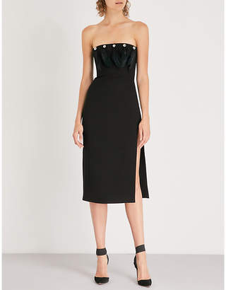 David Koma Feather-embellished cady dress