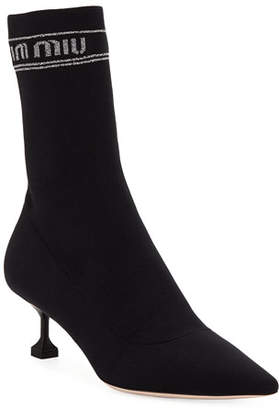 Miu Miu Tech Knit Pointed-Toe Sock Booties