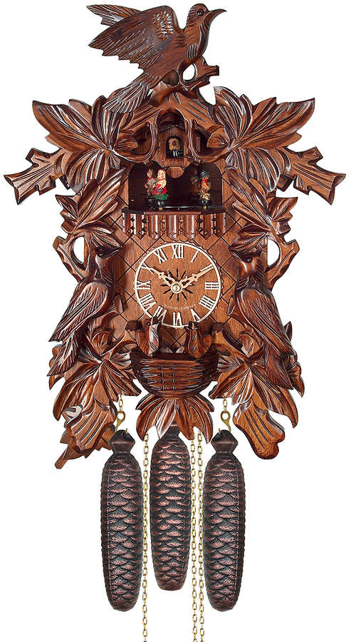 Leaves & Birds Eight-Day Weight-Driven Musical Cuckoo Clock