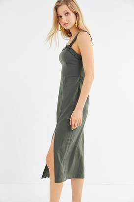 Urban Outfitters Remy Linen Ruffle Square-Neck Midi Dress