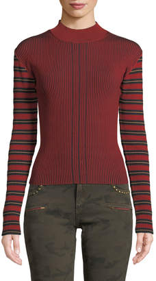 McQ Striped Ribbed Long-Sleeve Pullover Sweater
