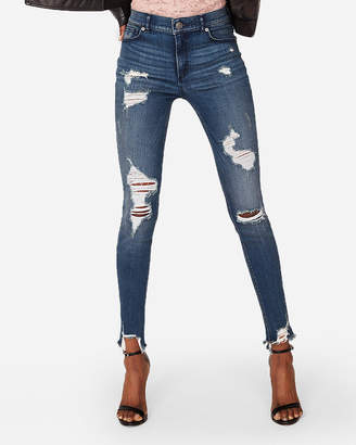 Express Petite High Waisted Denim Perfect Destroyed Stretch+ Ankle Leggings