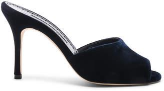 Manolo Blahnik Bartuslo Velvet 90 Heel in Blue | FWRD