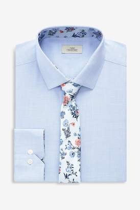 1b9c38be3408 Next Mens Blue Regular Fit Single Cuff Textured Shirt With Floral Tie Set -  Blue