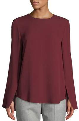 Theory Bringham Crewneck Long-Sleeve Classic Silk Georgette Blouse