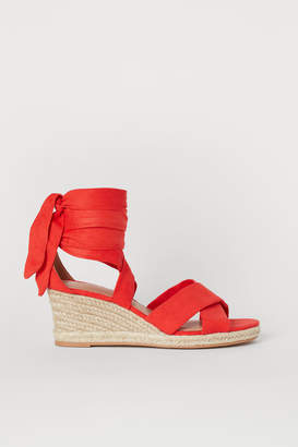 H&M Wedge-heeled Sandals - Red