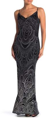 Jump Ombre Glitter Cowl Neck Slinky Gown