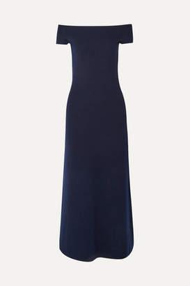 Gabriela Hearst Larrington Off-the-shoulder Merino Wool And Cashmere-blend Maxi Dress - Navy