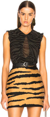 Proenza Schouler Tiger Print Chiffon Top in Dark Green & Black | FWRD