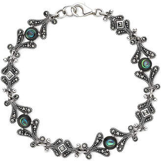 JCPenney FINE JEWELRY Marcasite and Abalone Shell Sterling Silver Bracelet