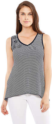 SKYE'S THE LIMIT Skyes The Limit St. Barths Stripe Floral Trim Sweater Tank- Plus