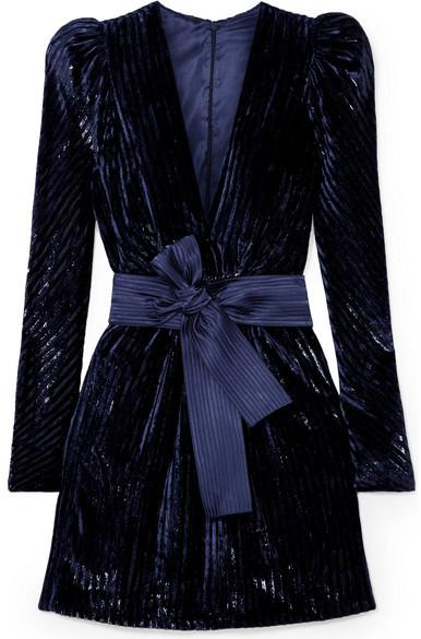Silvia Tcherassi - Otavia Metallic Devoré-velvet Mini Dress - Navy