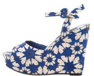 Alice + Olivia Floral Print Wedge Sandals