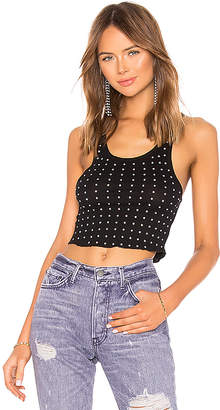 Frankie B. All Over Rhinestone Crop Tank