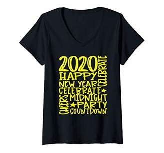 Womens 2020 Midnight Count Down Celebrate V-Neck T-Shirt