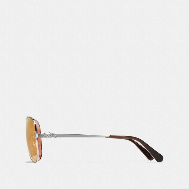 02bb2ccd36467 Coach Horse And Carriage Metal Pilot Sunglasses detail image