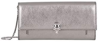 Alexander McQueen Metallic Leather Skull Wallet Bag