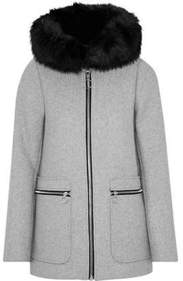 Maje Grelo Faux Fur-Trimmed Wool-Blend Hooded Coat