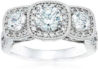 Swarovski Platinum Plated Sterling Silver Zirconia Round 3-Stone Vintage Style Ring